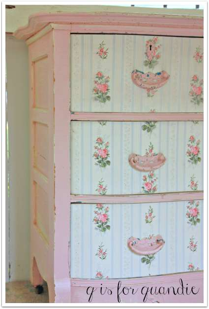 wallpapered drawer fronts