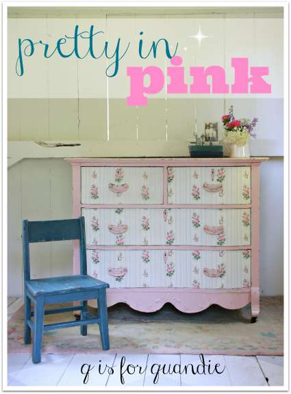 pink wallpapered dresser