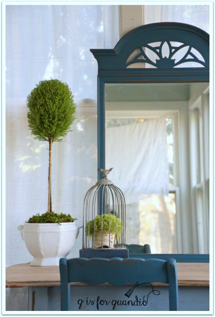 blue mirror topiary