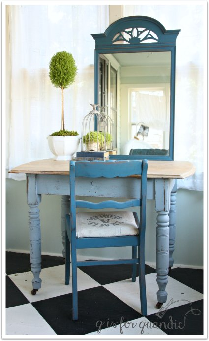 farmhouse table as desk