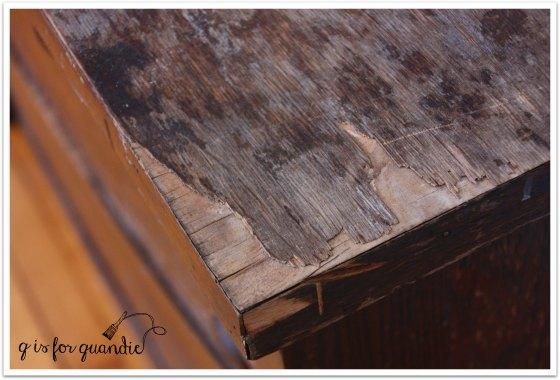 book page veneer damage close up