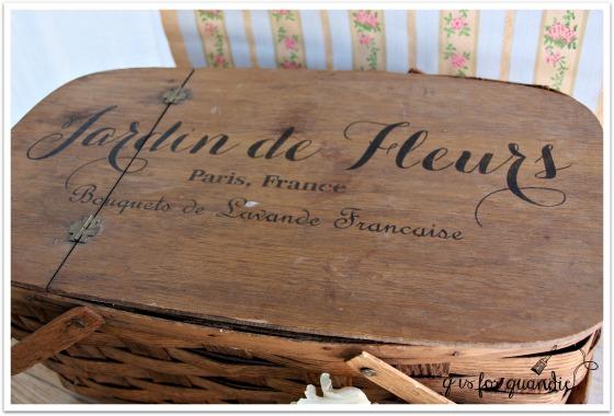 stenciled picnic basket
