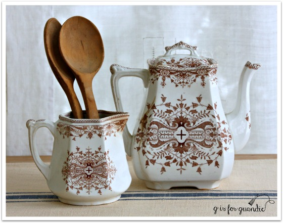 brown transferware set