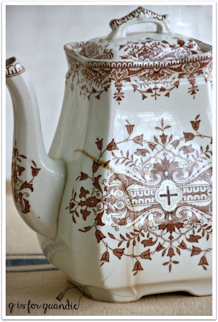 brown transferware tea pot