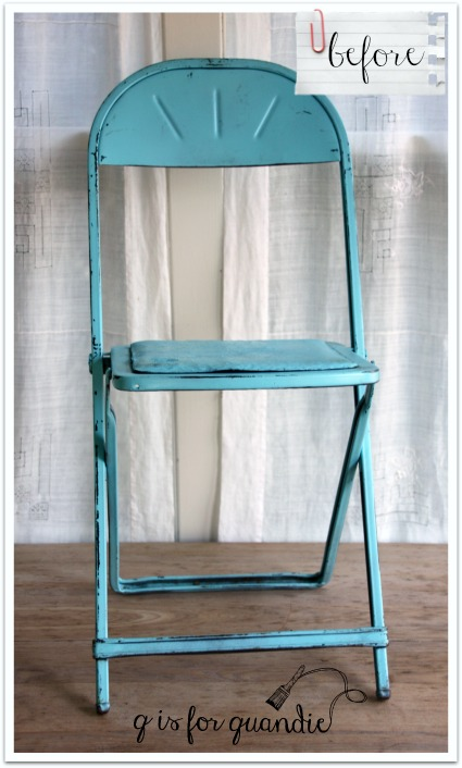 blue metal chair before