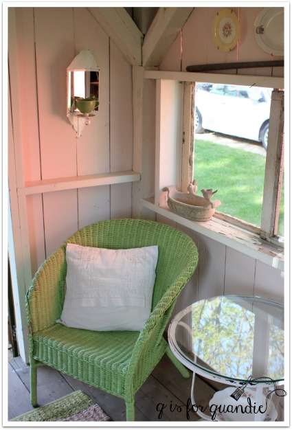 potting shed green chair