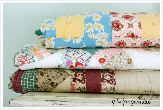 girls room quilt stack