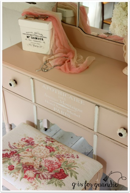 pink vanity and bench
