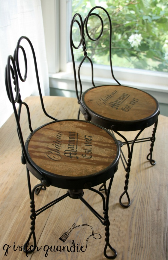 ice cream stools stenciled