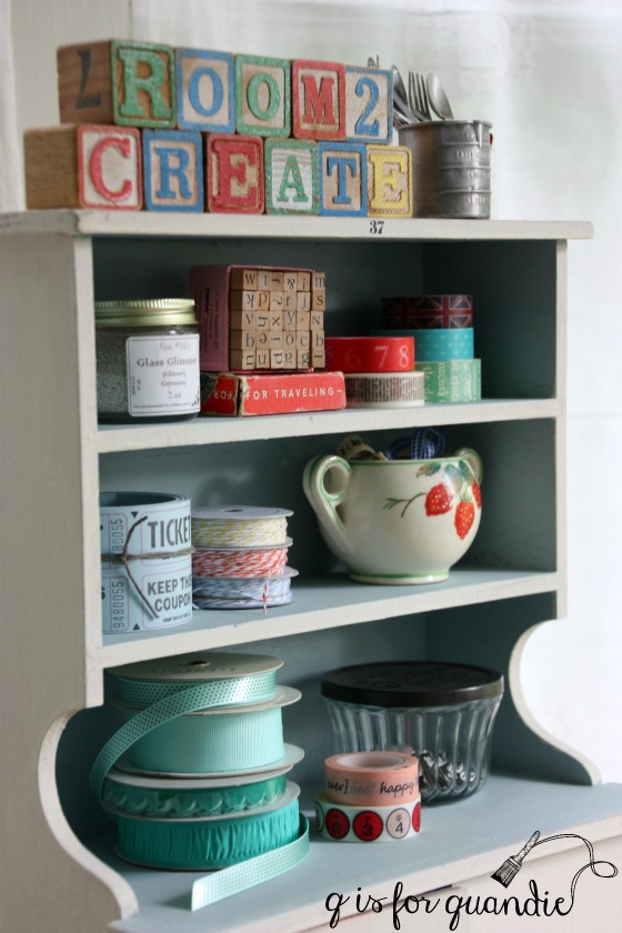 tiny cupboard and crafting supplies