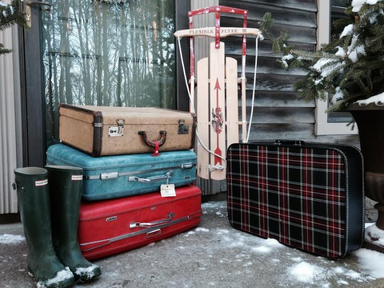 vintage suitcases for Christmas