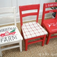 a trio of holiday chairs.