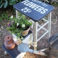 fresh cut flowers stool.